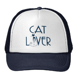 Cat Lover-Navy Blue Text & Stylized Cat Trucker Hat