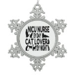 Cat Lover NICU Nurse Snowflake Pewter Christmas Ornament