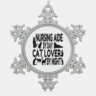 Cat Lover Nursing Aide Snowflake Pewter Christmas Ornament