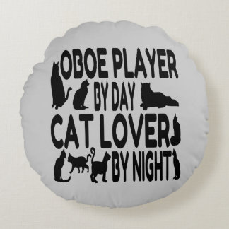 Cat Lover Oboe Player Round Pillow