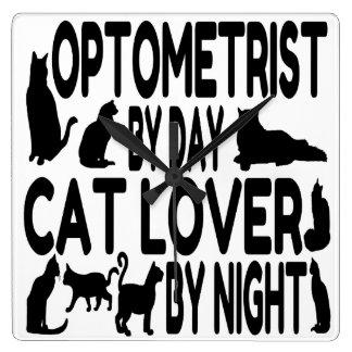 Cat Lover Optometrist Square Wall Clock