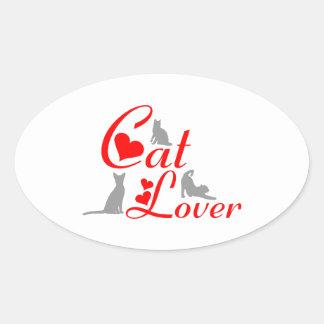 CAT LOVER OVAL STICKER