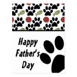 Cat Lover/Paw Print - Happy Father's Day Post Card