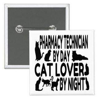 Cat Lover Pharmacy Technician 2 Inch Square Button
