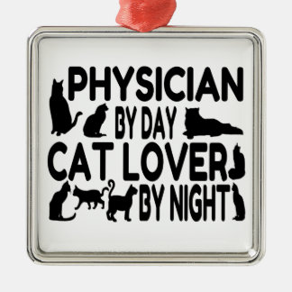 Cat Lover Physician Metal Ornament