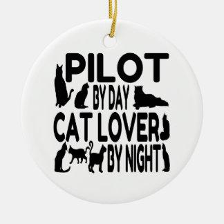 Cat Lover Pilot Ceramic Ornament