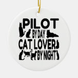 Cat Lover Pilot Double-Sided Ceramic Round Christmas Ornament