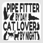 Cat Lover Pipe Fitter Square Sticker