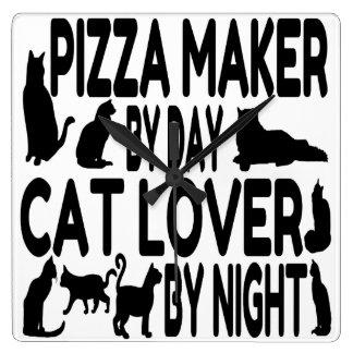Cat Lover Pizza Maker Square Wall Clock