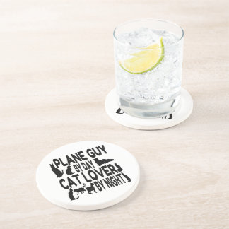 Cat Lover Plane Guy Drink Coasters