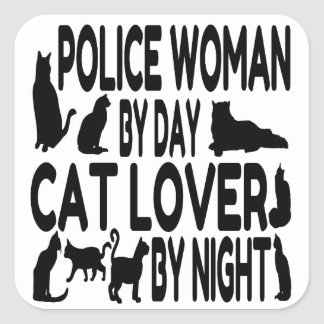 Cat Lover Police Woman Square Sticker