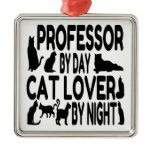 Cat Lover Professor Metal Ornament