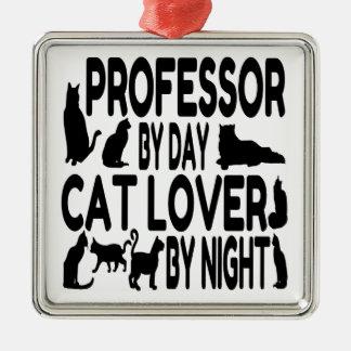 Cat Lover Professor Square Metal Christmas Ornament