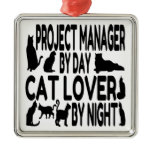 Cat Lover Project Manager Square Metal Christmas Ornament