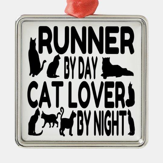 Cat Lover Runner Metal Ornament
