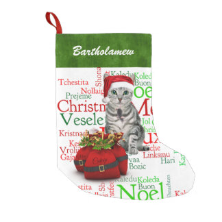 Cat Lover Santa Kitty with Mouse Christmas Small Christmas Stocking