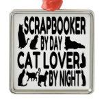Cat Lover Scrapbooker Square Metal Christmas Ornament