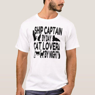 Cat Lover Ship Captain T-Shirt