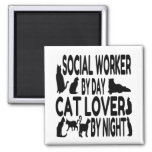 Cat Lover Social Worker 2 Inch Square Magnet
