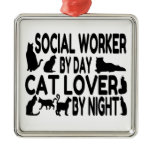 Cat Lover Social Worker Christmas Tree Ornament