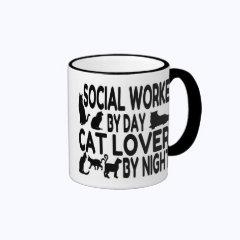 Cat Lover Social Worker Ringer Coffee Mug