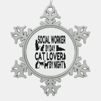 Cat Lover Social Worker Snowflake Pewter Christmas Ornament