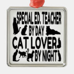 Cat Lover Special Education Teacher Square Metal Christmas Ornament