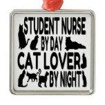Cat Lover Student Nurse Metal Ornament