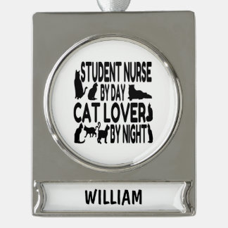 Cat Lover Student Nurse Silver Plated Banner Ornament