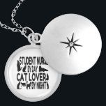 """Cat Lover Student Nurse Silver Plated Necklace<br><div class=""""desc"""">This adorable text design featuring the phrase &quot;Student Nurse by Day Cat Lover by Night&quot; and cute cat profiles is perfect for any student nurse who loves cats.</div>"""