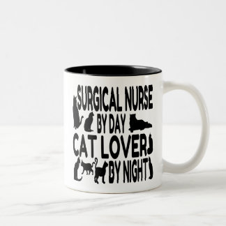 Cat Lover Surgical Nurse Two-Tone Coffee Mug