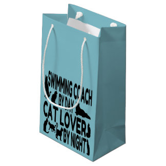 Cat Lover Swimming Coach Small Gift Bag