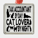 Cat Lover Tax Accountant Square Metal Christmas Ornament