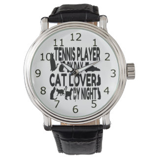 Cat Lover Tennis Player Wristwatch