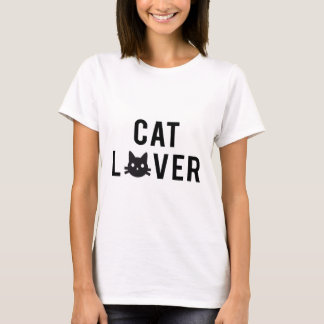 Cat lover text design with black cat face T-Shirt