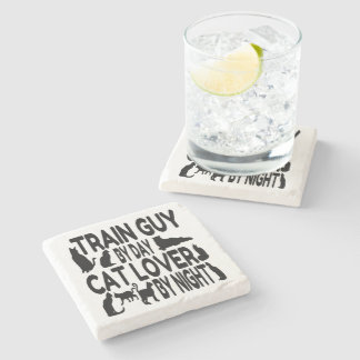 Cat Lover Train Guy Stone Coaster