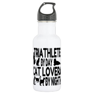 Cat Lover Triathlete Water Bottle