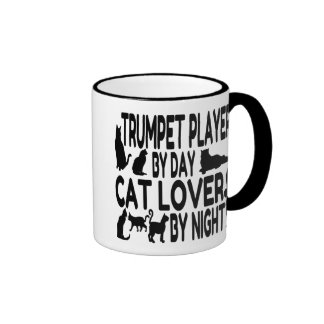 Cat Lover Trumpet Player Ringer Coffee Mug
