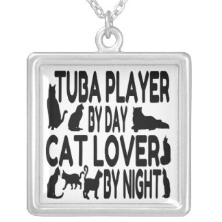 Cat Lover Tuba Player Silver Plated Necklace