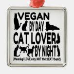 Cat Lover Vegan Funny Metal Ornament