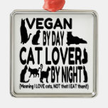 Cat Lover Vegan Funny Square Metal Christmas Ornament