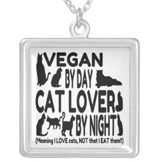 Cat Lover Vegan Funny Silver Plated Necklace