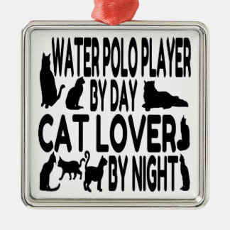 Cat Lover Water Polo Player Metal Ornament