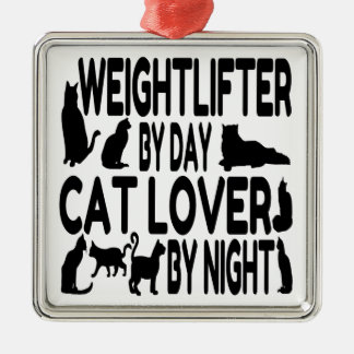 Cat Lover Weightlifter Metal Ornament