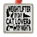 Cat Lover Weightlifter Square Metal Christmas Ornament
