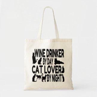 Cat Lover Wine Drinker Tote Bags