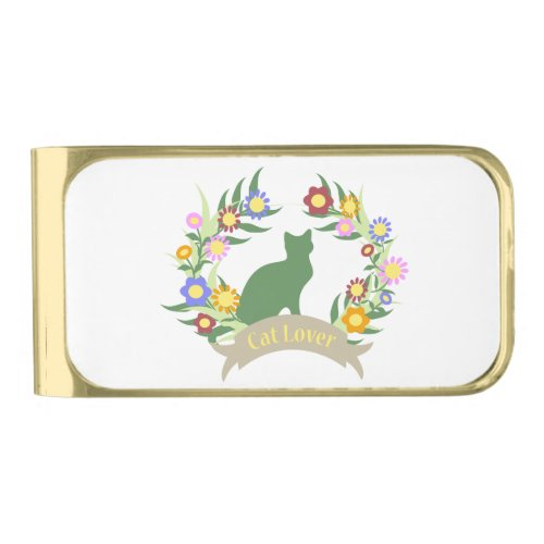 Cat Lover Wreath Gold Finish Money Clip