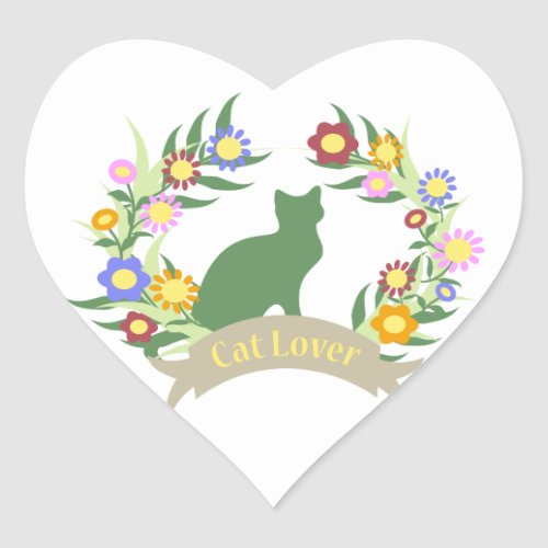 Cat Lover Wreath Heart Sticker