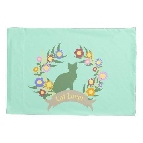 Cat Lover Wreath Pillow Case