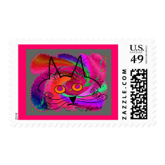 Cat Lovers abstract art gifts Stamp